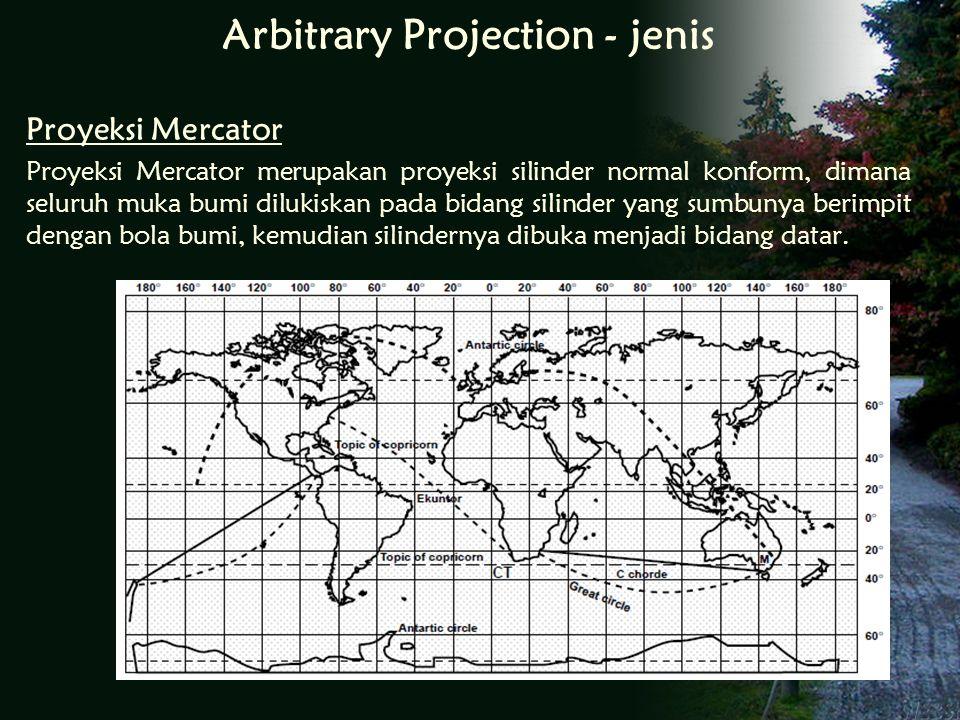 Proyeksi Mercator Proyeksi Mercator merupakan proyeksi silinder normal konform, dimana seluruh muka bumi dilukiskan pada bidang silinder yang sumbunya berimpit dengan bola bumi, kemudian silindernya dibuka menjadi bidang datar.