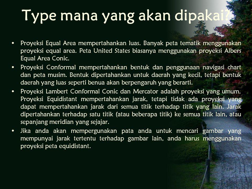 Type mana yang akan dipakai.Proyeksi Equal Area mempertahankan luas.