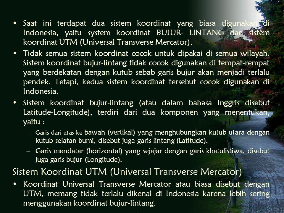 Saat ini terdapat dua sistem koordinat yang biasa digunakan di Indonesia, yaitu system koordinat BUJUR- LINTANG dan sistem koordinat UTM (Universal Transverse Mercator).