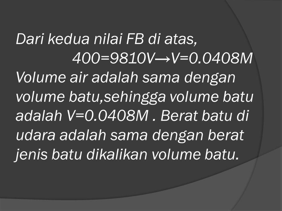 Dari kedua nilai FB di atas, 400=9810V→V=0.0408M Volume air adalah sama dengan volume batu,sehingga volume batu adalah V=0.0408M. Berat batu di udara