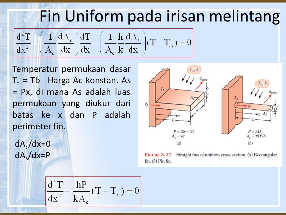 Fin Uniform pada irisan melintang Temperatur permukaan dasar T o = Tb. Harga Ac konstan. As = Px, di mana As adalah luas permukaan yang diukur dari ba