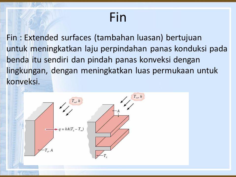 Fin Fin : Extended surfaces (tambahan luasan) bertujuan untuk meningkatkan laju perpindahan panas konduksi pada benda itu sendiri dan pindah panas kon