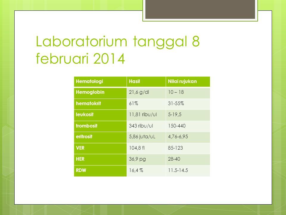 Laboratorium tanggal 8 februari 2014 HematologiHasilNilai rujukan Hemoglobin 21,6 g/dl10 – 18 hematokrit 61%31-55% leukosit 11,81 ribu/ul5-19,5 trombosit 343 ribu/ul150-440 eritrosit 5,86 juta/uL4,76-6,95 VER 104,8 fl85-123 HER 36,9 pg28-40 RDW 16,4 %11.5-14.5
