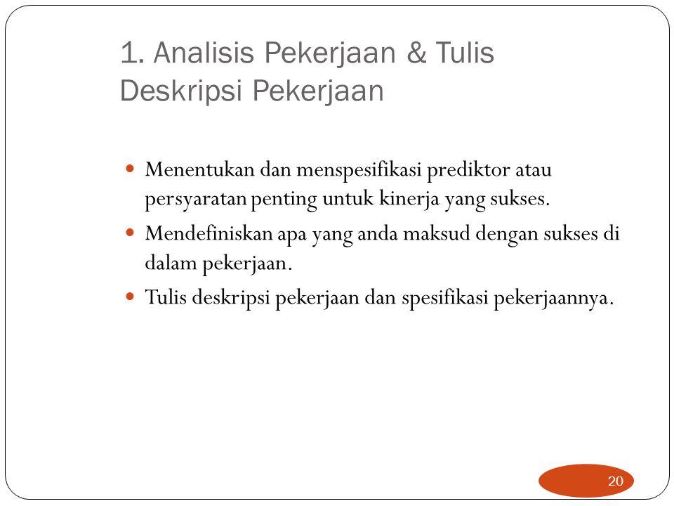 1. Analisis Pekerjaan & Tulis Deskripsi Pekerjaan Menentukan dan menspesifikasi prediktor atau persyaratan penting untuk kinerja yang sukses. Mendefin