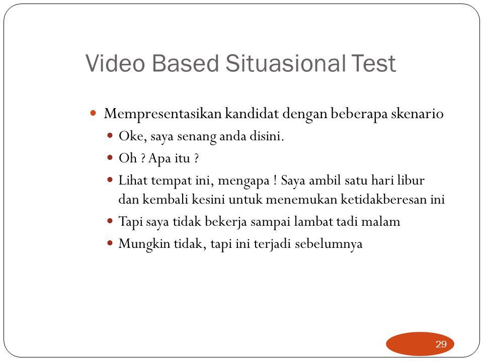 Video Based Situasional Test Mempresentasikan kandidat dengan beberapa skenario Oke, saya senang anda disini. Oh ? Apa itu ? Lihat tempat ini, mengapa