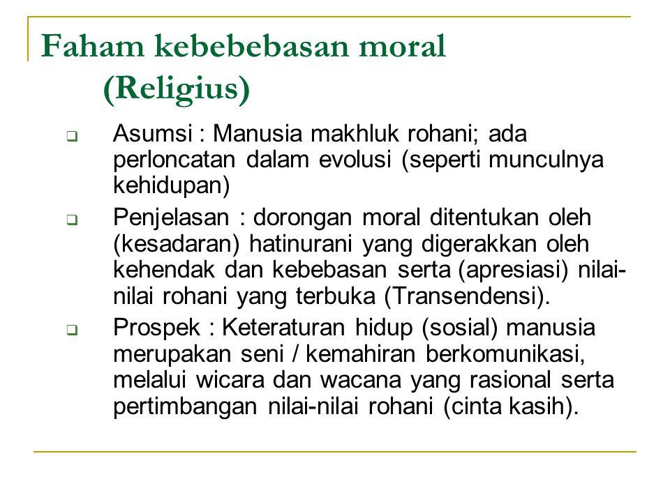 Faham kebebebasan moral (Religius)  Asumsi : Manusia makhluk rohani; ada perloncatan dalam evolusi (seperti munculnya kehidupan)  Penjelasan : doron