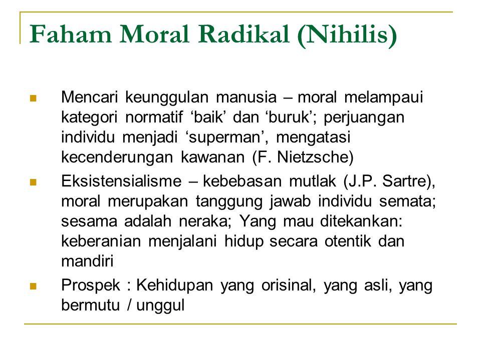 Faham Moral Radikal (Nihilis) Mencari keunggulan manusia – moral melampaui kategori normatif 'baik' dan 'buruk'; perjuangan individu menjadi 'superman