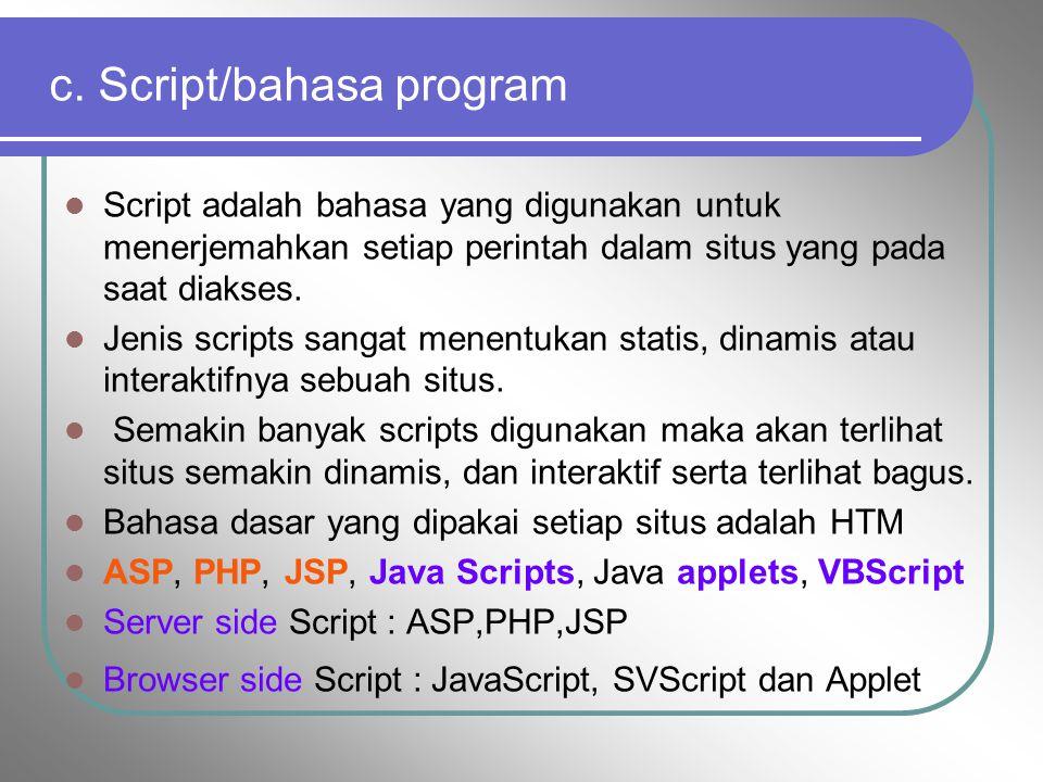 b). Hosting ruangan yang terdapat dalam harddisk tempat menyimpan berbagai data, file-file, gambar dan lain sebagainya yang akan ditampilkan di situs