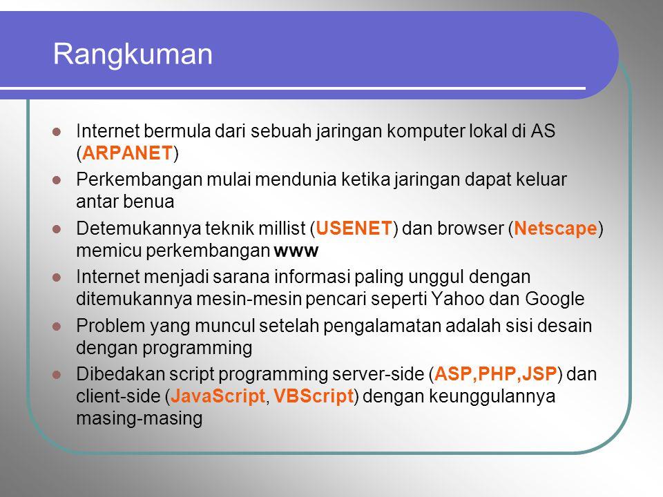 5. Aplikasi Internet 1. WWW : sistem dimana informasi berbagai bentuk (teks,image,suara) di sharing dengan format HTML dan protokol komunikasi HTTP 2.