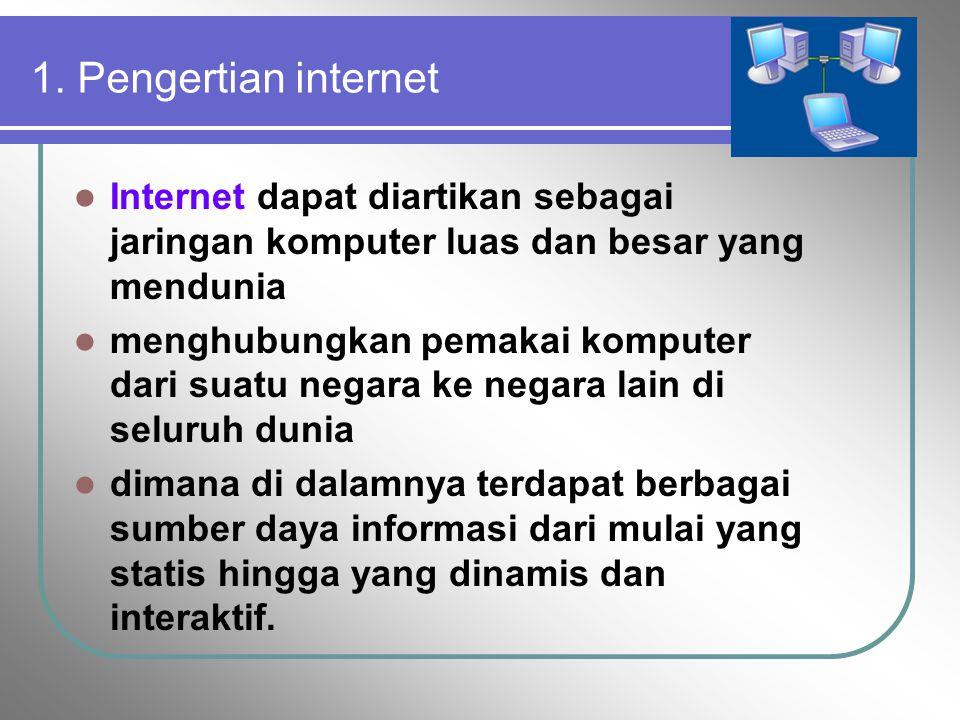Dalam modul ini akan dipelajari: 1. Pengertian 2. Sejarah internet 3. Web site 4. Web server/Web browser 5. Aplikasi Internet