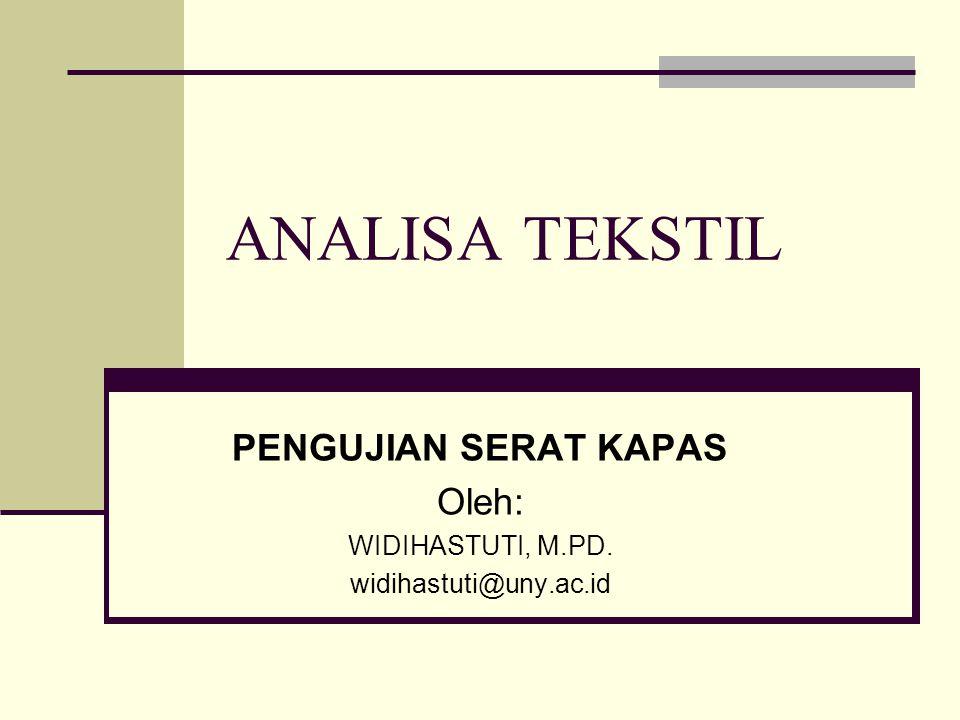 ANALISA TEKSTIL PENGUJIAN SERAT KAPAS Oleh: WIDIHASTUTI, M.PD. widihastuti@uny.ac.id