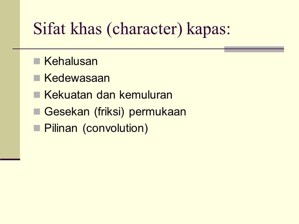 Sifat khas (character) kapas: Kehalusan Kedewasaan Kekuatan dan kemuluran Gesekan (friksi) permukaan Pilinan (convolution)