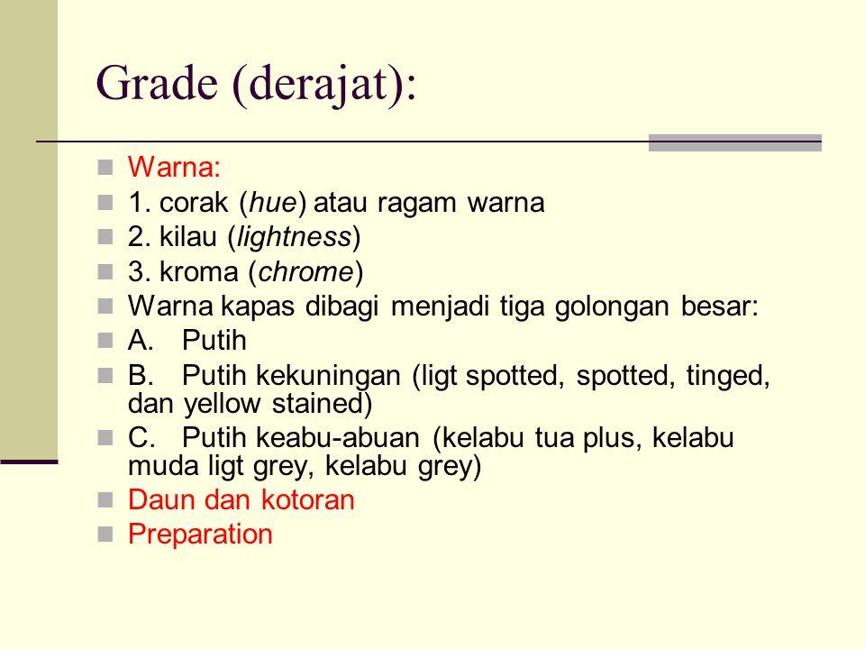 Grade (derajat): Warna: 1. corak (hue) atau ragam warna 2. kilau (lightness) 3. kroma (chrome) Warna kapas dibagi menjadi tiga golongan besar: A.Putih