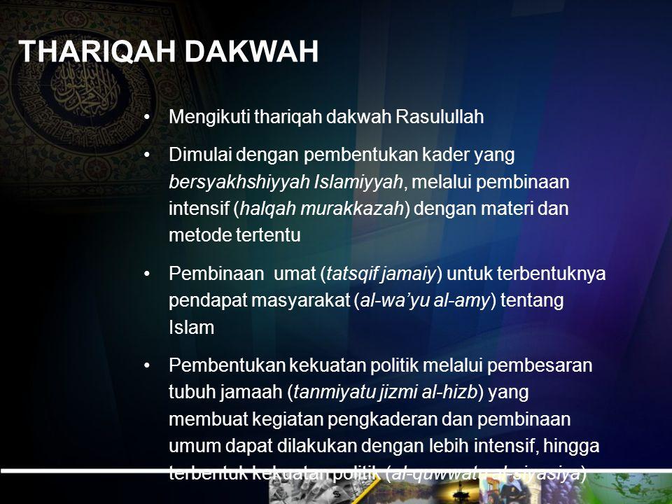 THARIQAH DAKWAH Mengikuti thariqah dakwah Rasulullah Dimulai dengan pembentukan kader yang bersyakhshiyyah Islamiyyah, melalui pembinaan intensif (hal