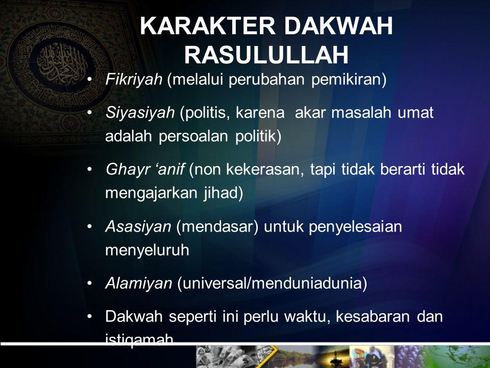 KARAKTER DAKWAH RASULULLAH Fikriyah (melalui perubahan pemikiran) Siyasiyah (politis, karena akar masalah umat adalah persoalan politik) Ghayr 'anif (