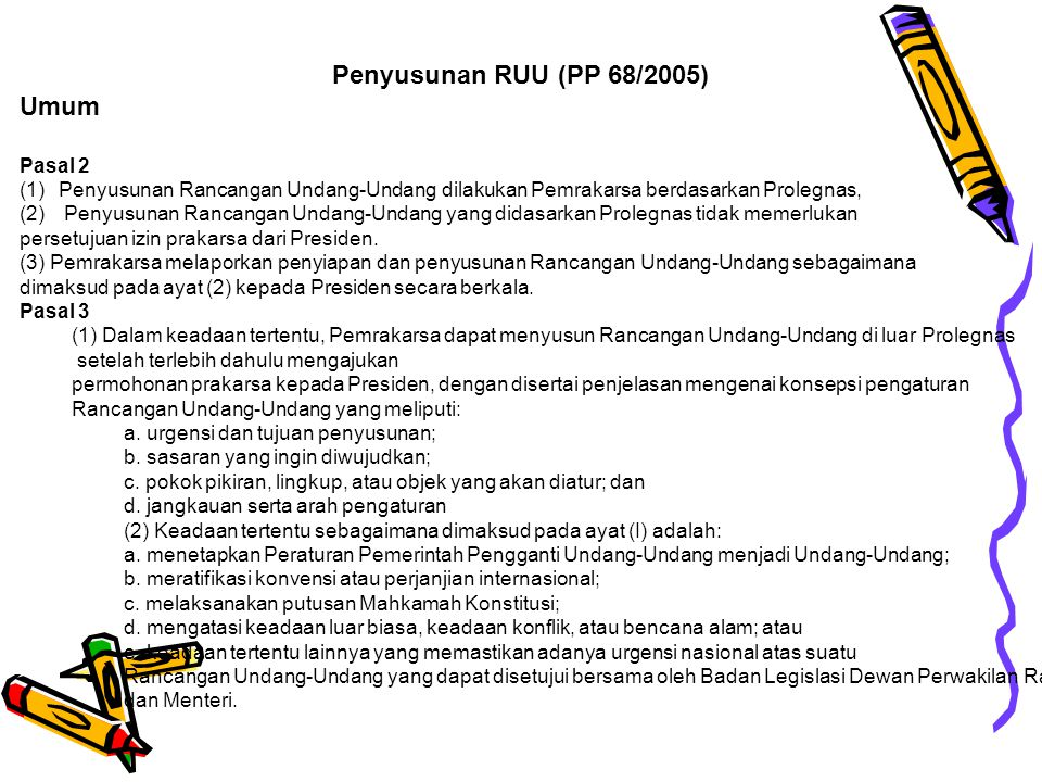 Penyusunan RUU (PP 68/2005) Umum Pasal 2 (1)Penyusunan Rancangan Undang-Undang dilakukan Pemrakarsa berdasarkan Prolegnas, (2) Penyusunan Rancangan Un