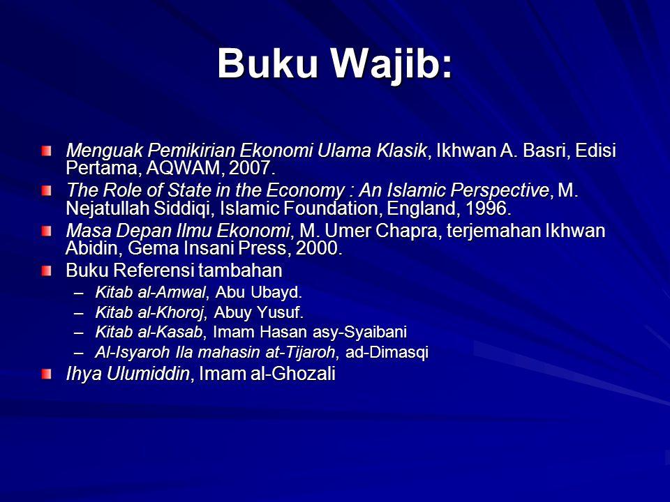 Buku Wajib: Menguak Pemikirian Ekonomi Ulama Klasik, Ikhwan A. Basri, Edisi Pertama, AQWAM, 2007. The Role of State in the Economy : An Islamic Perspe