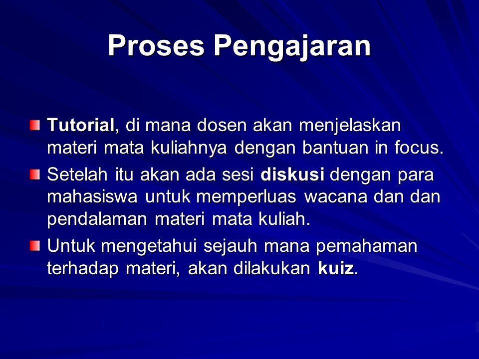 Proses Pengajaran Tutorial, di mana dosen akan menjelaskan materi mata kuliahnya dengan bantuan in focus. Setelah itu akan ada sesi diskusi dengan par