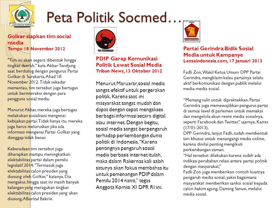 Peta Politik Socmed….. Golkar siapkan tim social media Tempo 18 November 2012