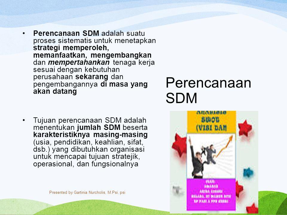 Perencanaan SDM Perencanaan SDM adalah suatu proses sistematis untuk menetapkan strategi memperoleh, memanfaatkan, mengembangkan dan mempertahankan te