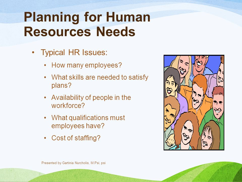 Planning for Human Resources Needs Typical HR Issues: How many employees? What skills are needed to satisfy plans? Availability of people in the workf