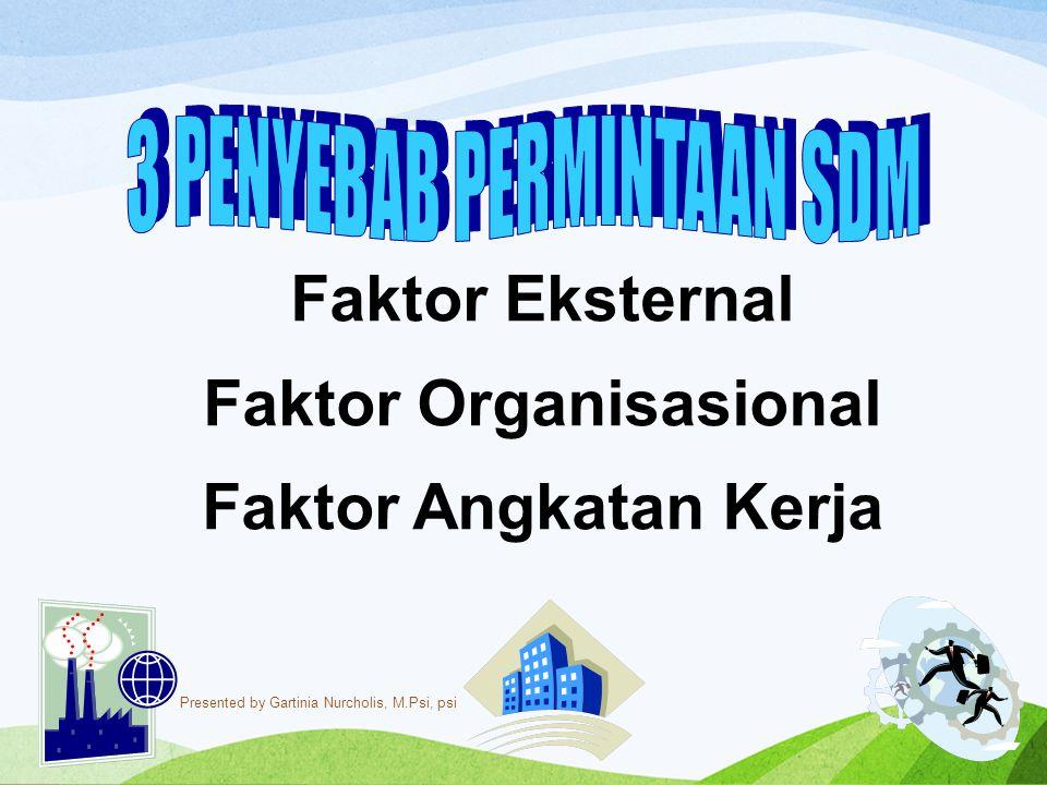 Faktor Eksternal Faktor Organisasional Faktor Angkatan Kerja Presented by Gartinia Nurcholis, M.Psi, psi