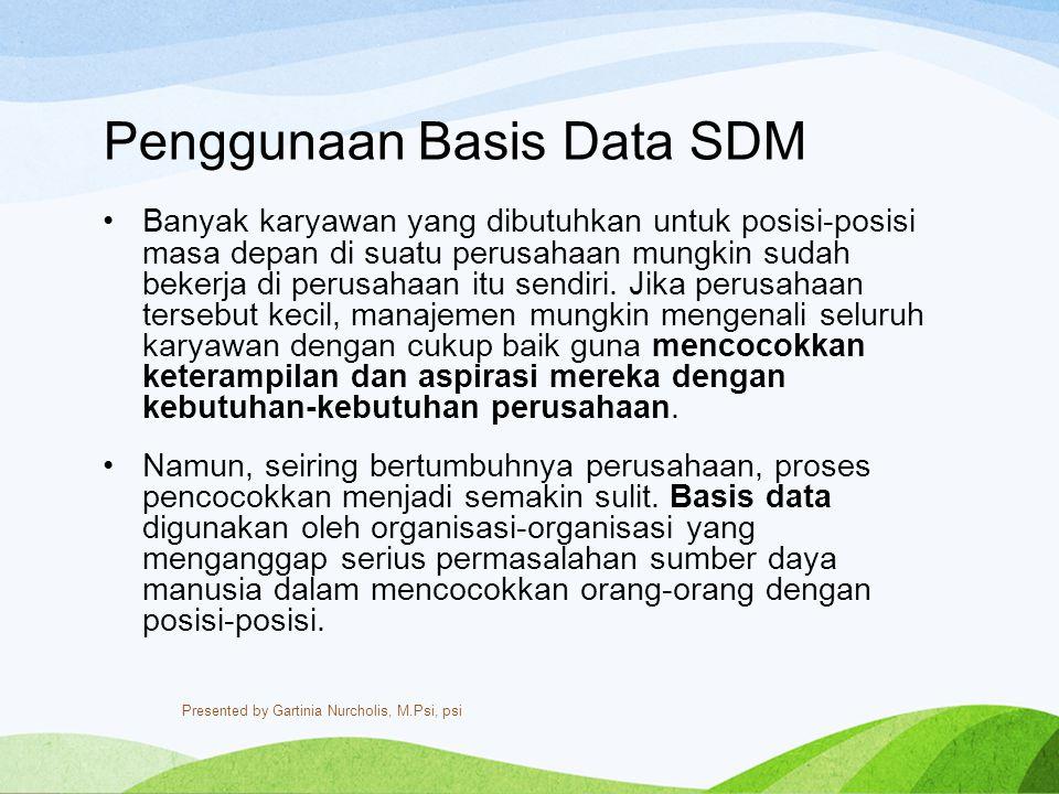 Penggunaan Basis Data SDM Banyak karyawan yang dibutuhkan untuk posisi-posisi masa depan di suatu perusahaan mungkin sudah bekerja di perusahaan itu s