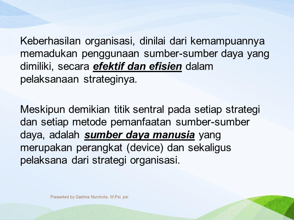 Keberhasilan organisasi, dinilai dari kemampuannya memadukan penggunaan sumber-sumber daya yang dimiliki, secara efektif dan efisien dalam pelaksanaan