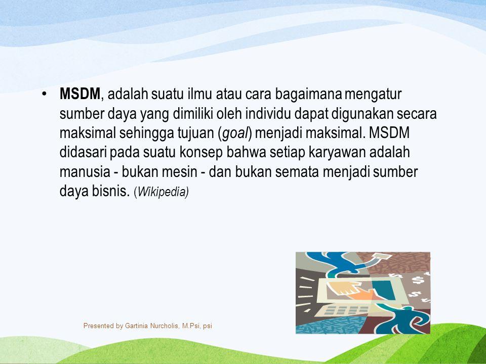 MSDM Manajemen sumber daya manusia adalah suatu proses menangani berbagai masalah pada ruang lingkup karyawan, pegawai, buruh, manajer dan tenaga kerja lainnya untuk dapat menunjang aktifitas organisasi atau perusahaan demi mencapai tujuan yang telah ditentukan.