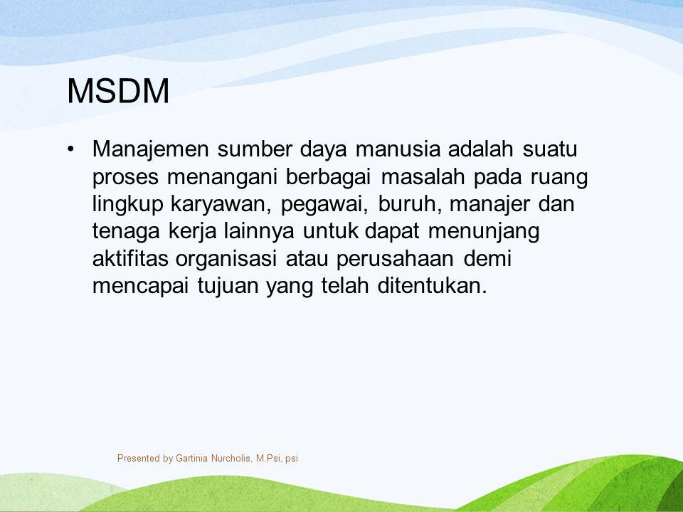 MSDM Manajemen sumber daya manusia adalah suatu proses menangani berbagai masalah pada ruang lingkup karyawan, pegawai, buruh, manajer dan tenaga kerj