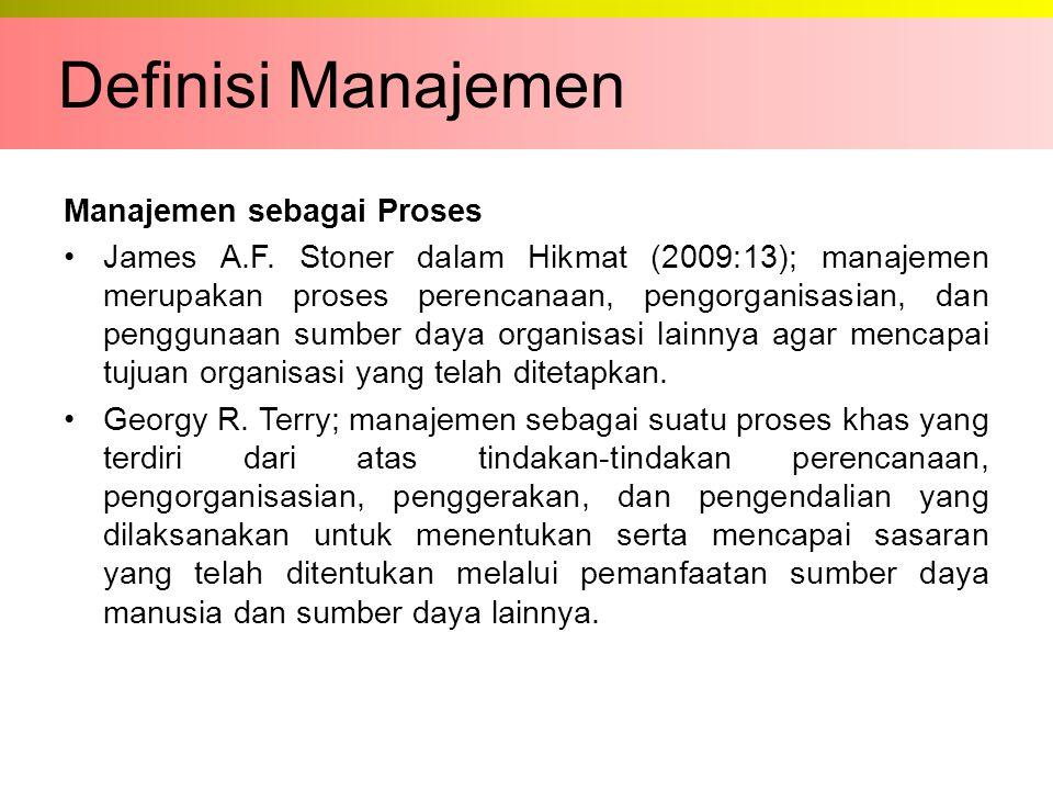 Manajemen sebagai Proses James A.F. Stoner dalam Hikmat (2009:13); manajemen merupakan proses perencanaan, pengorganisasian, dan penggunaan sumber day