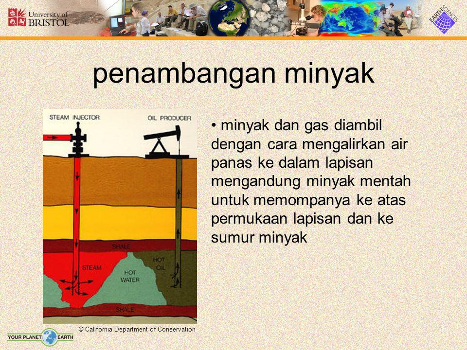 penambangan minyak © California Department of Conservation minyak dan gas diambil dengan cara mengalirkan air panas ke dalam lapisan mengandung minyak mentah untuk memompanya ke atas permukaan lapisan dan ke sumur minyak