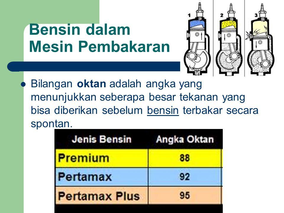 Bensin dalam Mesin Pembakaran Bilangan oktan adalah angka yang menunjukkan seberapa besar tekanan yang bisa diberikan sebelum bensin terbakar secara spontan.bensin