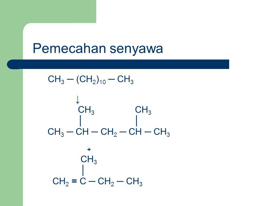 CH 3 ─ (CH 2 ) 10 ─ CH 3 ↓ CH 3 CH 3 │ │ CH 3 ─ CH ─ CH 2 ─ CH ─ CH 3 + CH 3 │ CH 2 = C ─ CH 2 ─ CH 3 Pemecahan senyawa