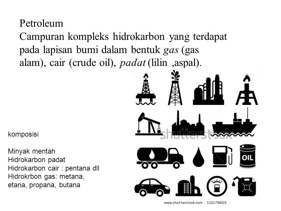 komposisi Minyak mentah Hidrokarbon padat Hidrokarbon cair : pentana dll Hidrokrbon gas: metana, etana, propana, butana Petroleum Campuran kompleks hidrokarbon yang terdapat pada lapisan bumi dalam bentuk gas (gas alam), cair (crude oil), padat (lilin,aspal).