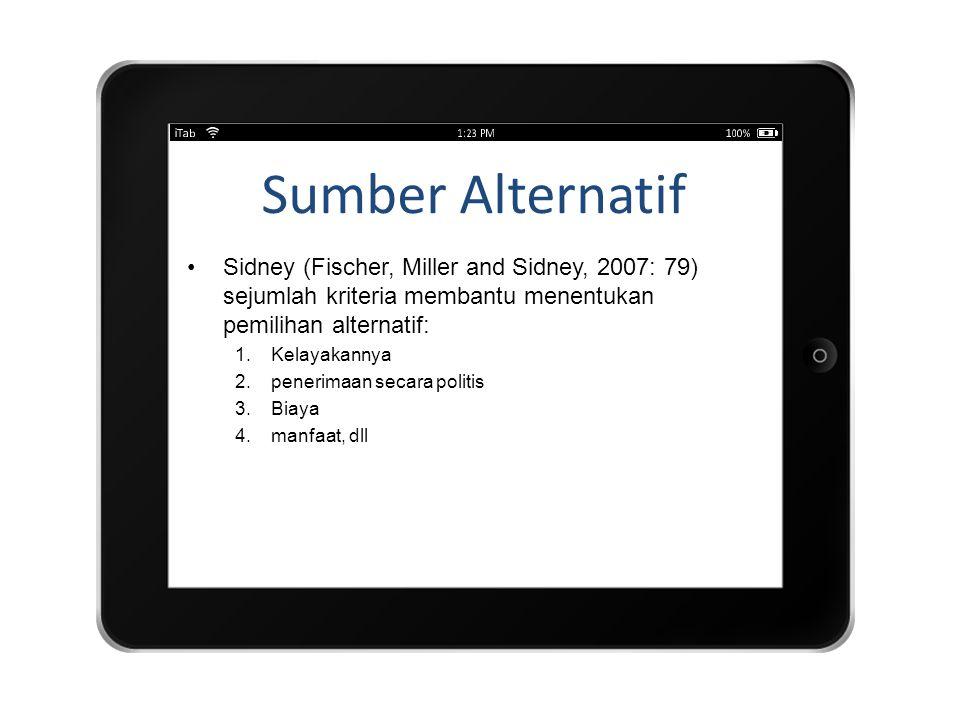 Sumber Alternatif Sidney (Fischer, Miller and Sidney, 2007: 79) sejumlah kriteria membantu menentukan pemilihan alternatif: 1.