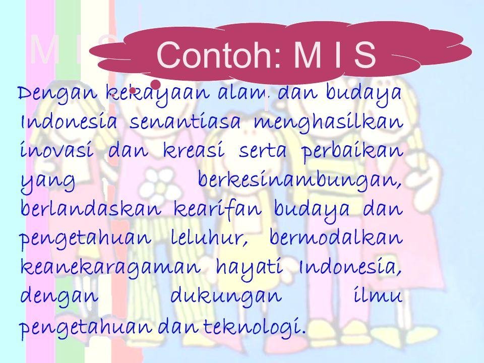 M I S I Dengan kekayaan alam dan budaya Indonesia senantiasa menghasilkan inovasi dan kreasi serta perbaikan yang berkesinambungan, berlandaskan keari