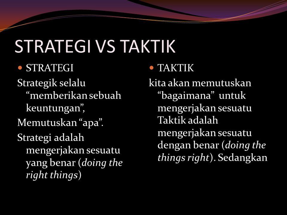 """STRATEGI VS TAKTIK STRATEGI Strategik selalu """"memberikan sebuah keuntungan"""", Memutuskan """"apa"""". Strategi adalah mengerjakan sesuatu yang benar (doing t"""