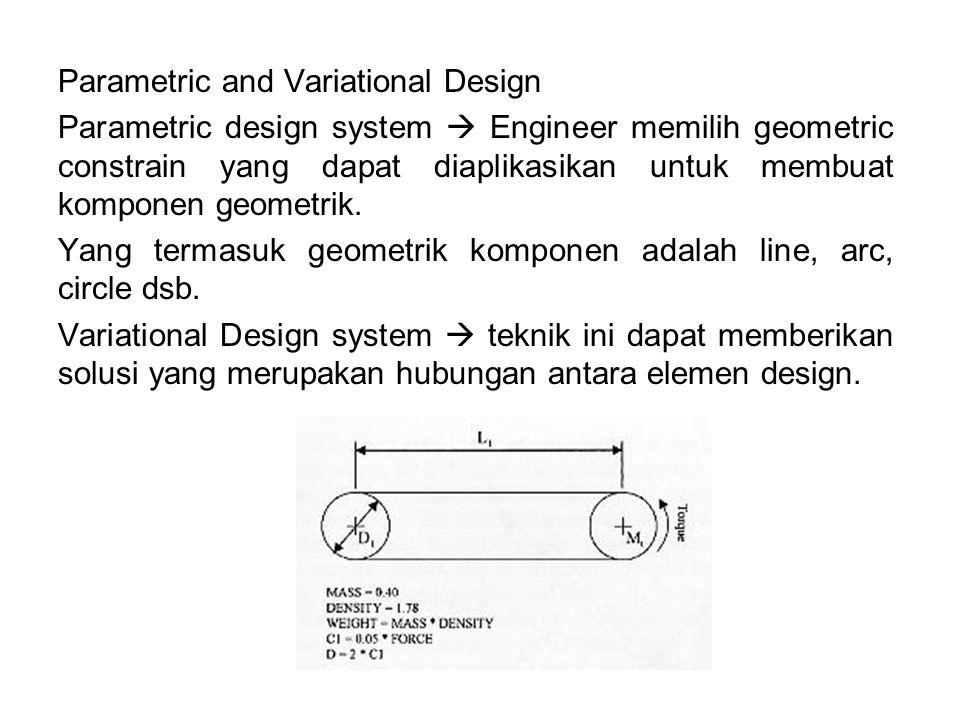 Parametric and Variational Design Parametric design system  Engineer memilih geometric constrain yang dapat diaplikasikan untuk membuat komponen geometrik.