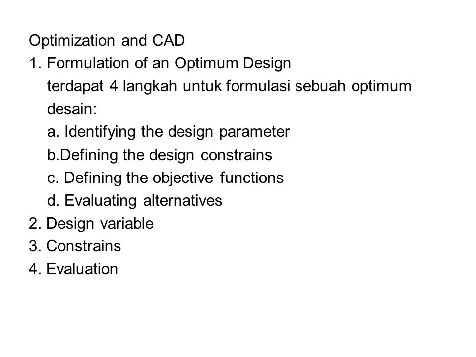 Optimization and CAD 1.
