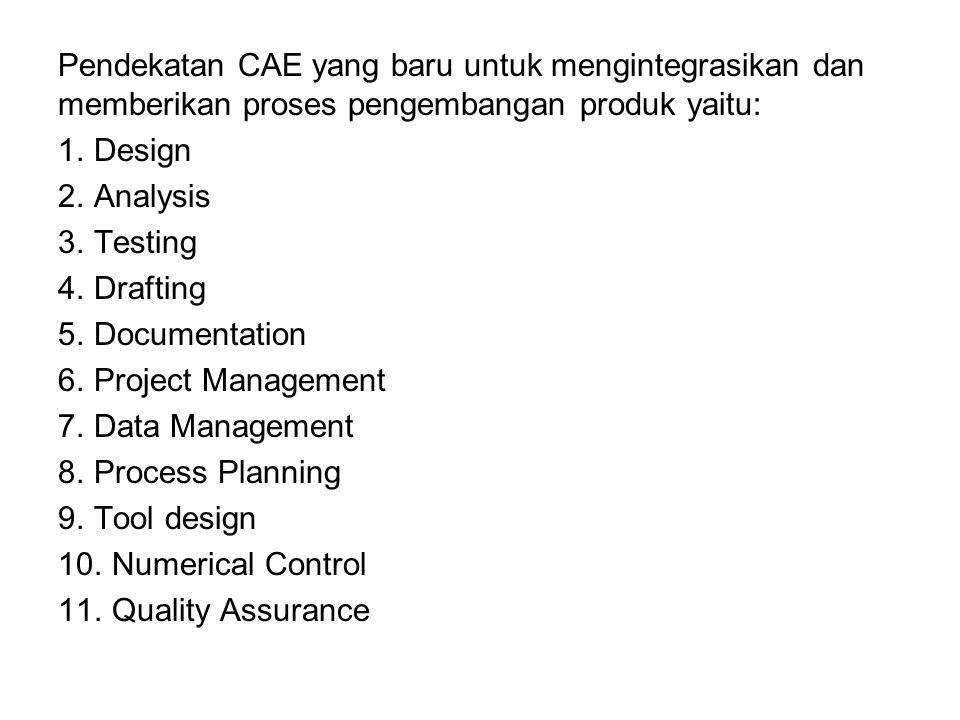 Pendekatan CAE yang baru untuk mengintegrasikan dan memberikan proses pengembangan produk yaitu: 1.