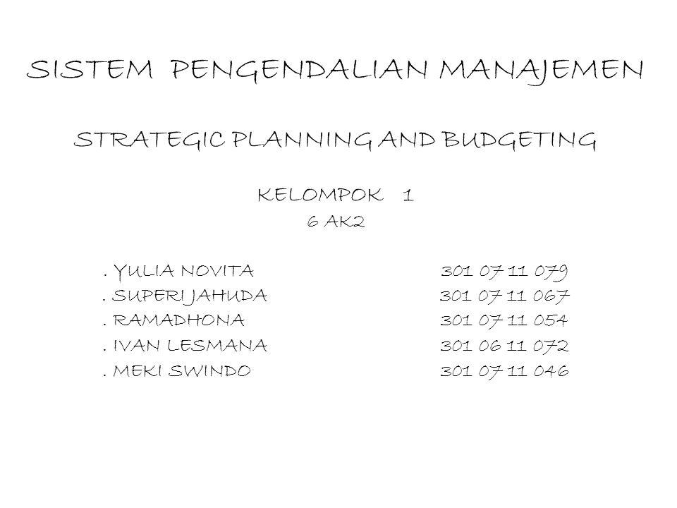 SISTEM PENGENDALIAN MANAJEMEN STRATEGIC PLANNING AND BUDGETING KELOMPOK 1 6 AK2. YULIA NOVITA301 07 11 079. SUPERI JAHUDA301 07 11 067. RAMADHONA301 0