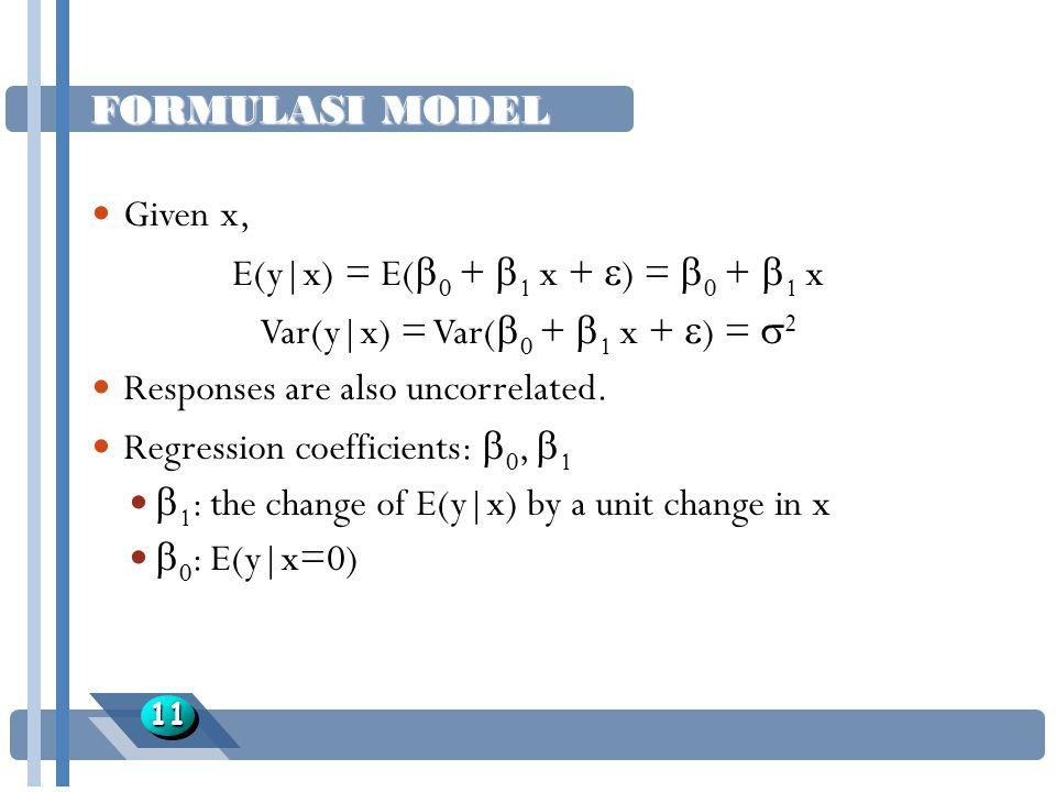FORMULASI MODEL 1111 Given x, E(y|x) = E(  0 +  1 x +  ) =  0 +  1 x Var(y|x) = Var(  0 +  1 x +  ) =  2 Responses are also uncorrelated. Reg