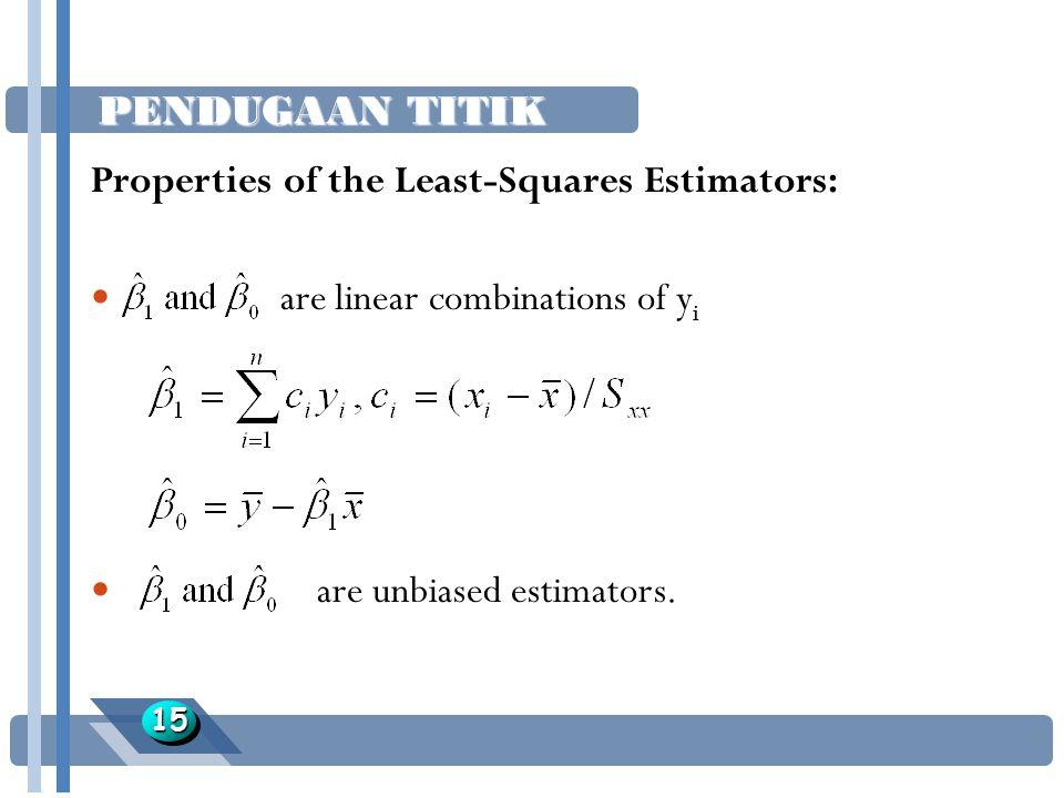 PENDUGAAN TITIK 1515 Properties of the Least-Squares Estimators: are linear combinations of y i are unbiased estimators.