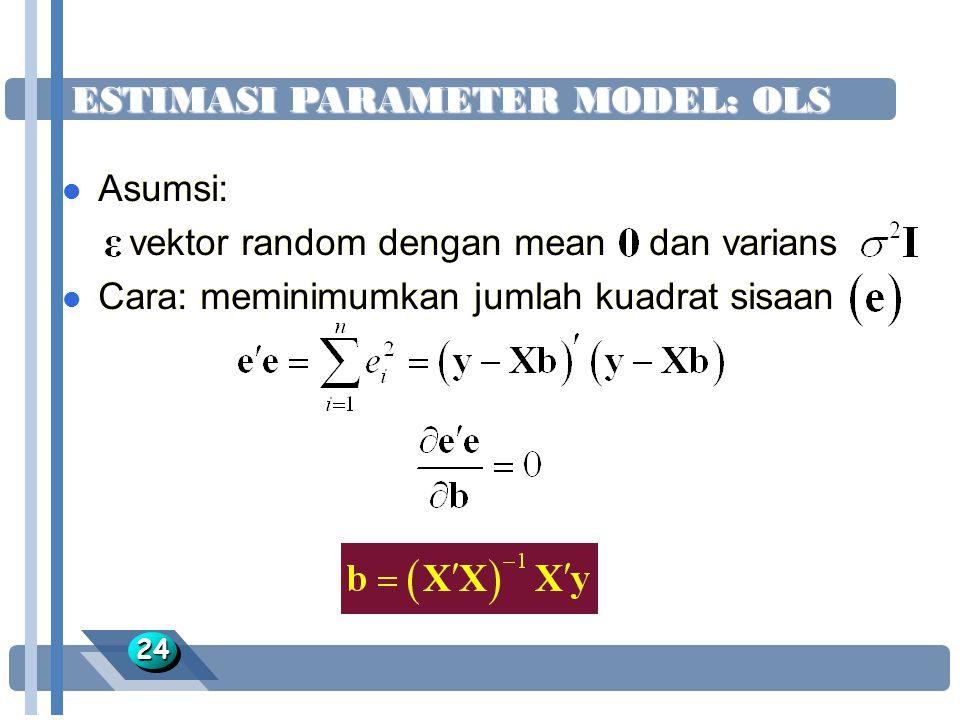 ESTIMASI PARAMETER MODEL: OLS 2424 l Asumsi: vektor random dengan mean dan varians l Cara: meminimumkan jumlah kuadrat sisaan l Asumsi: vektor random