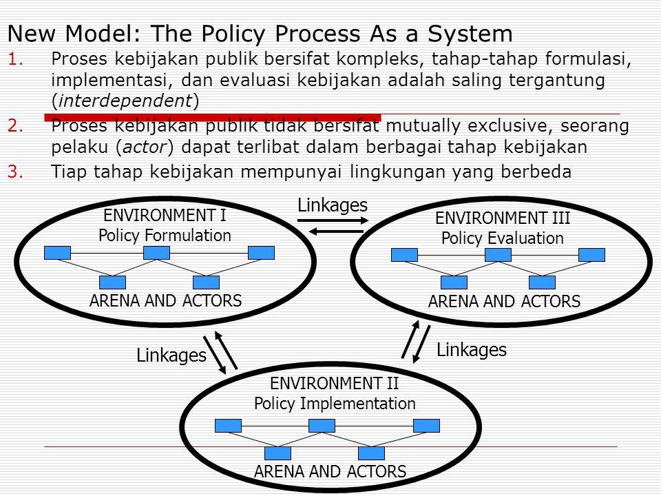 New Model: The Policy Process As a System 1.Proses kebijakan publik bersifat kompleks, tahap-tahap formulasi, implementasi, dan evaluasi kebijakan adalah saling tergantung (interdependent) 2.Proses kebijakan publik tidak bersifat mutually exclusive, seorang pelaku (actor) dapat terlibat dalam berbagai tahap kebijakan 3.Tiap tahap kebijakan mempunyai lingkungan yang berbeda Linkages ENVIRONMENT I Policy Formulation Linkages ARENA AND ACTORS ENVIRONMENT III Policy Evaluation ENVIRONMENT II Policy Implementation ARENA AND ACTORS