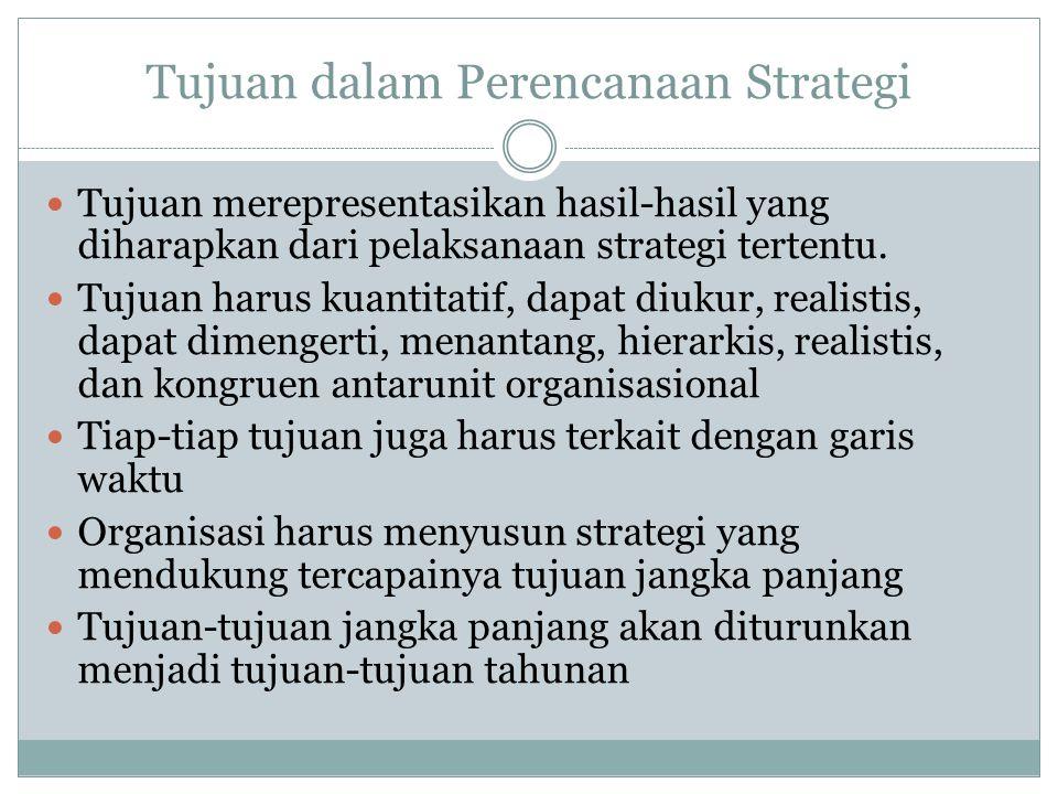 Tujuan dalam Perencanaan Strategi Tujuan merepresentasikan hasil-hasil yang diharapkan dari pelaksanaan strategi tertentu.