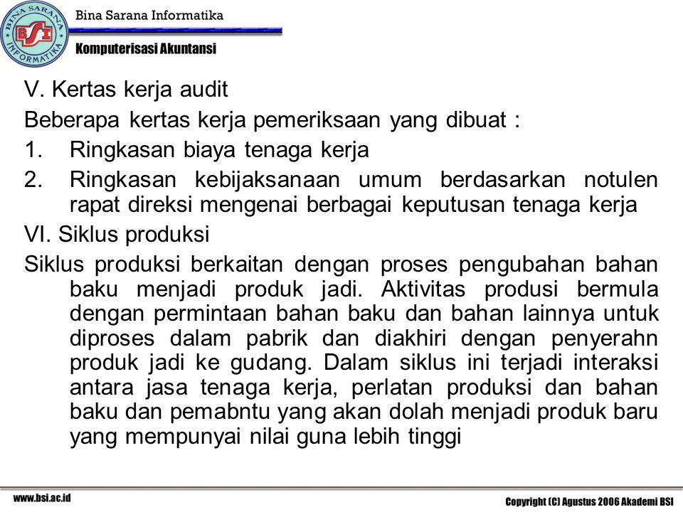 V. Kertas kerja audit Beberapa kertas kerja pemeriksaan yang dibuat : 1.Ringkasan biaya tenaga kerja 2.Ringkasan kebijaksanaan umum berdasarkan notule
