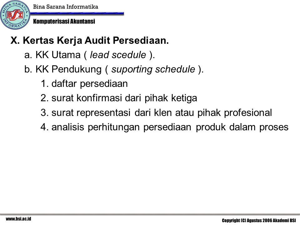 X.Kertas Kerja Audit Persediaan. a. KK Utama ( lead scedule ).