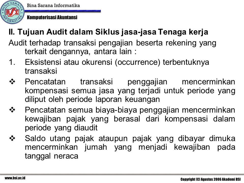 II. Tujuan Audit dalam Siklus jasa-jasa Tenaga kerja Audit terhadap transaksi pengajian beserta rekening yang terkait dengannya, antara lain : 1.Eksis